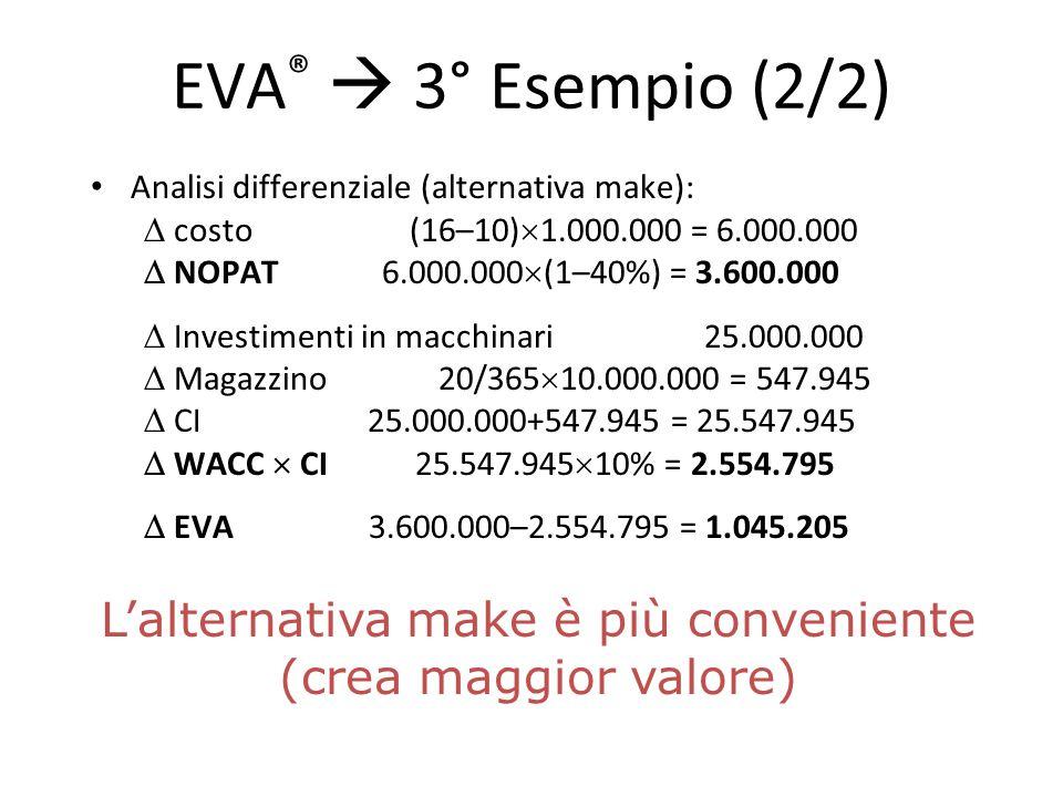 EVA ®  3° Esempio (2/2) Analisi differenziale (alternativa make):  costo (16–10)  1.000.000 = 6.000.000  NOPAT 6.000.000  (1–40%) = 3.600.000  I