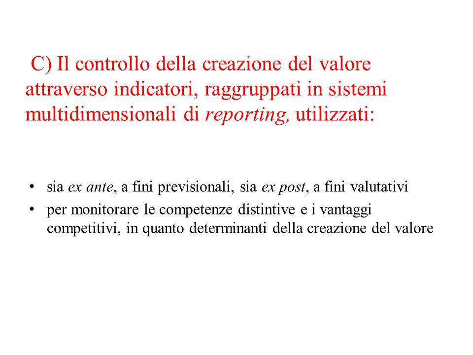 C) Il controllo della creazione del valore attraverso indicatori, raggruppati in sistemi multidimensionali di reporting, utilizzati: sia ex ante, a fi