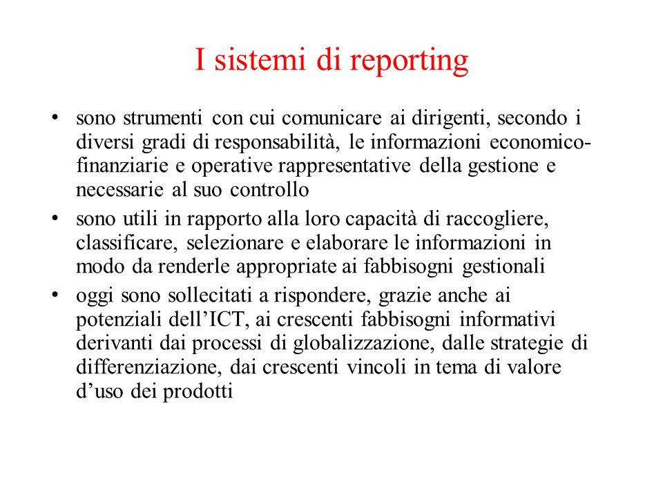 I sistemi di reporting sono strumenti con cui comunicare ai dirigenti, secondo i diversi gradi di responsabilità, le informazioni economico- finanziar