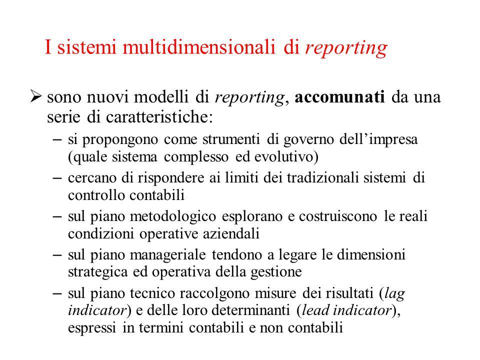 I sistemi multidimensionali di reporting  sono nuovi modelli di reporting, accomunati da una serie di caratteristiche: – si propongono come strumenti