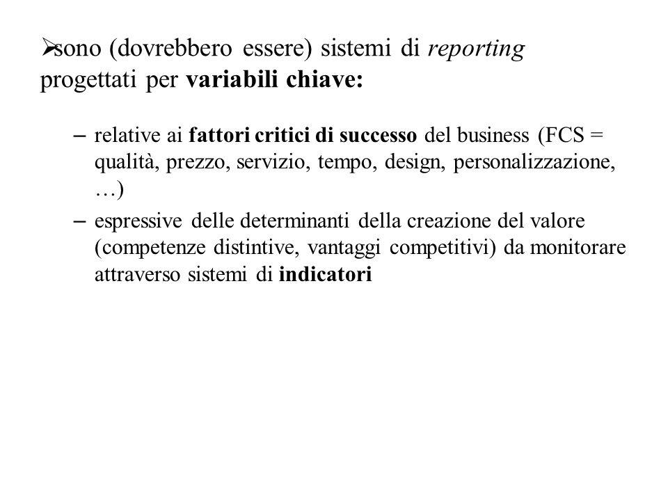  sono (dovrebbero essere) sistemi di reporting progettati per variabili chiave: – relative ai fattori critici di successo del business (FCS = qualità