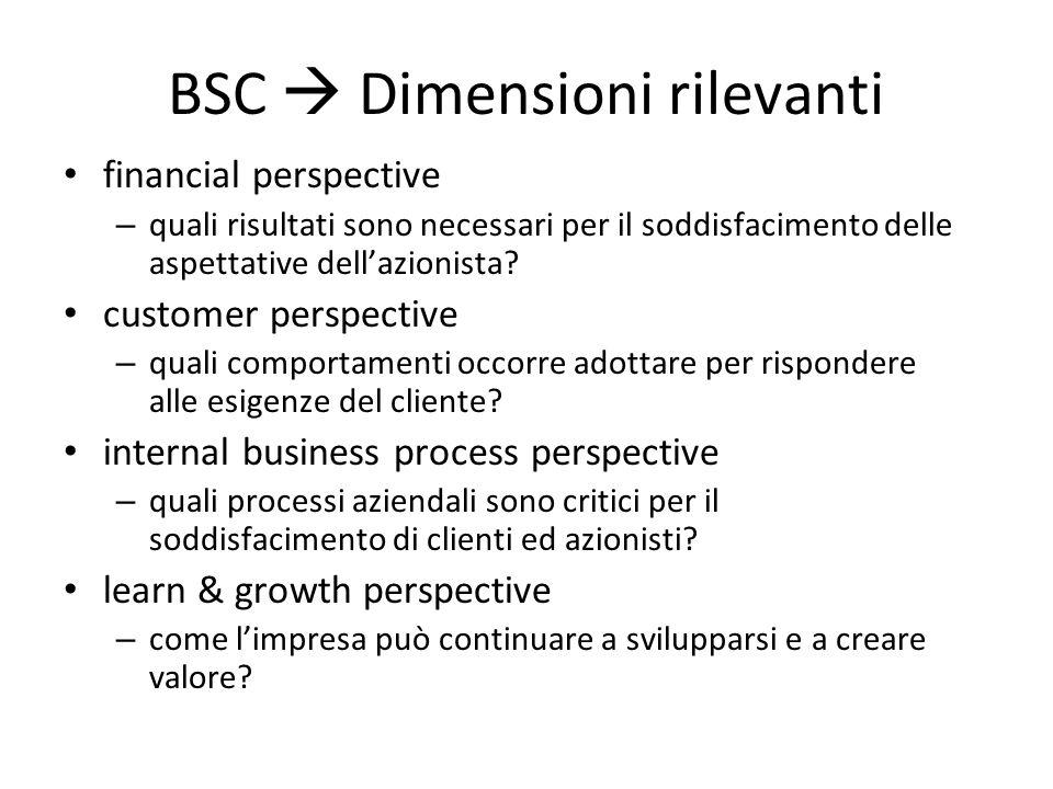 BSC  Dimensioni rilevanti financial perspective – quali risultati sono necessari per il soddisfacimento delle aspettative dell'azionista? customer pe