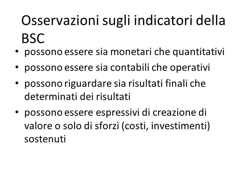 Osservazioni sugli indicatori della BSC possono essere sia monetari che quantitativi possono essere sia contabili che operativi possono riguardare sia