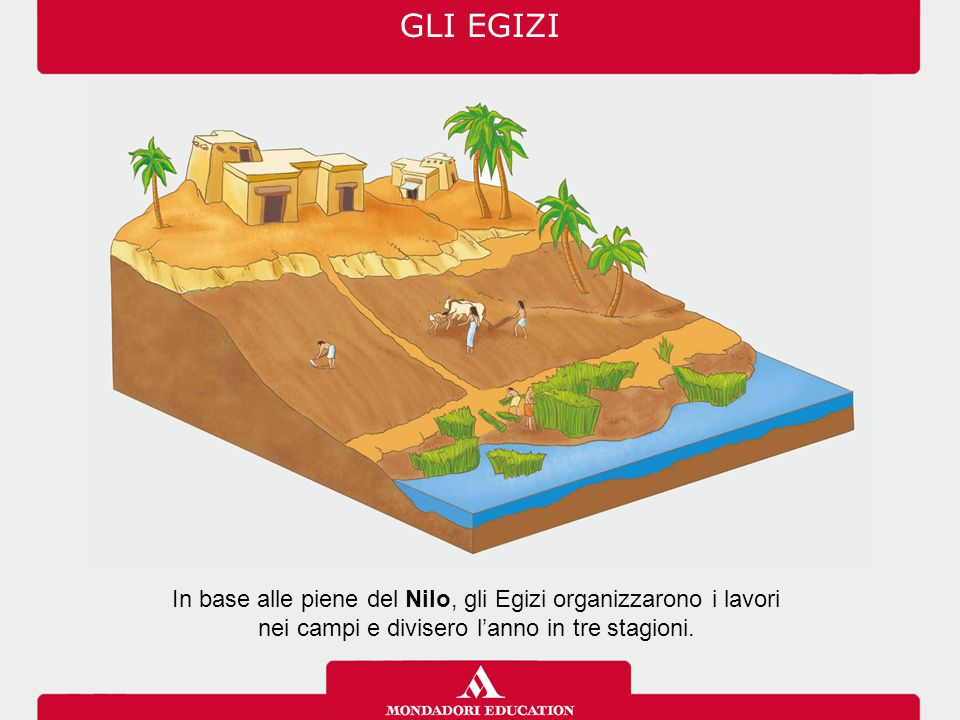 In base alle piene del Nilo, gli Egizi organizzarono i lavori nei campi e divisero l'anno in tre stagioni. GLI EGIZI