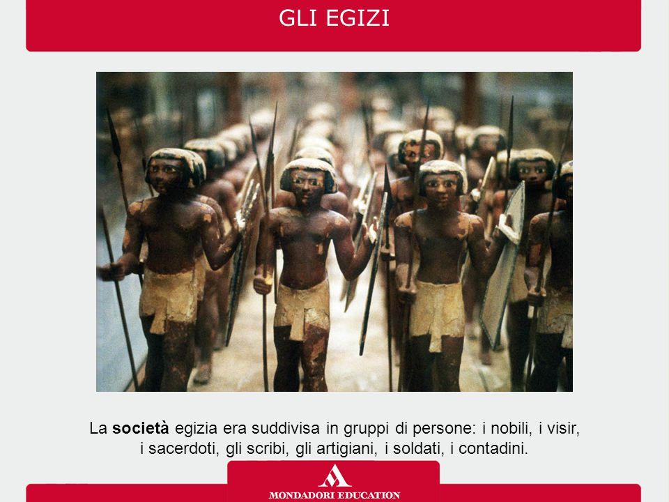 La società egizia era suddivisa in gruppi di persone: i nobili, i visir, i sacerdoti, gli scribi, gli artigiani, i soldati, i contadini. GLI EGIZI