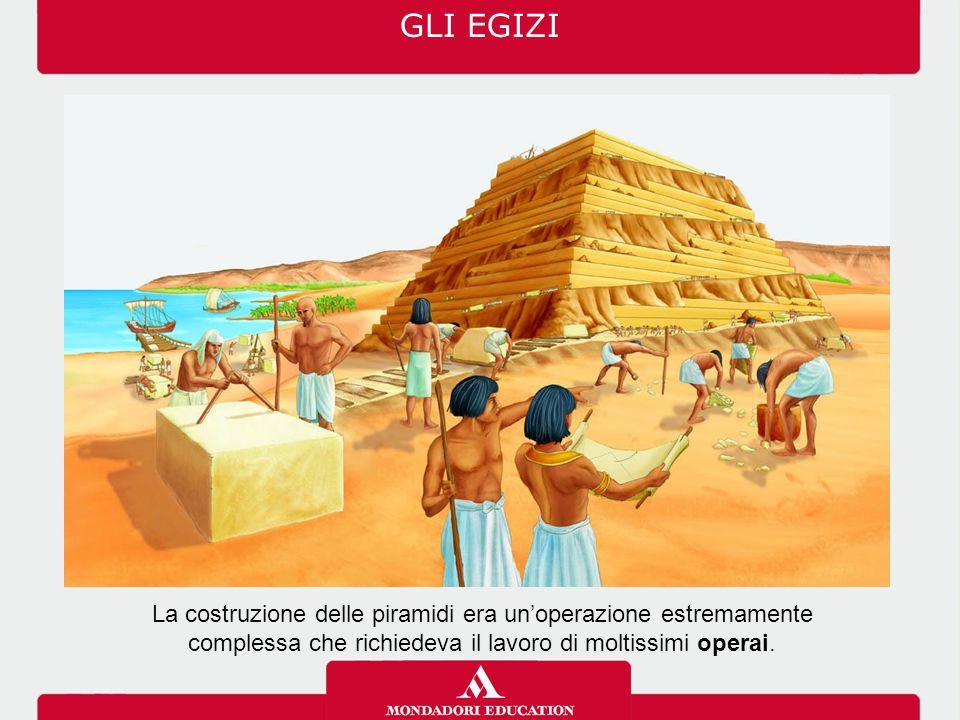 La costruzione delle piramidi era un'operazione estremamente complessa che richiedeva il lavoro di moltissimi operai. GLI EGIZI