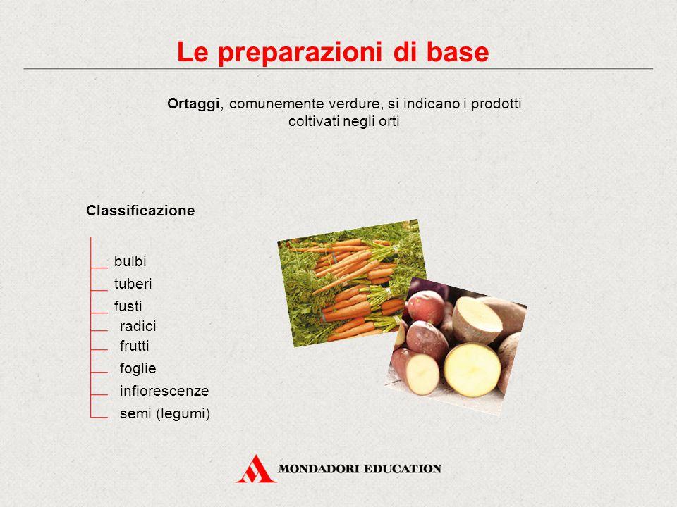 Le preparazioni di base Ortaggi, comunemente verdure, si indicano i prodotti coltivati negli orti Classificazione bulbi radici tuberi fusti frutti foglie infiorescenze semi (legumi)