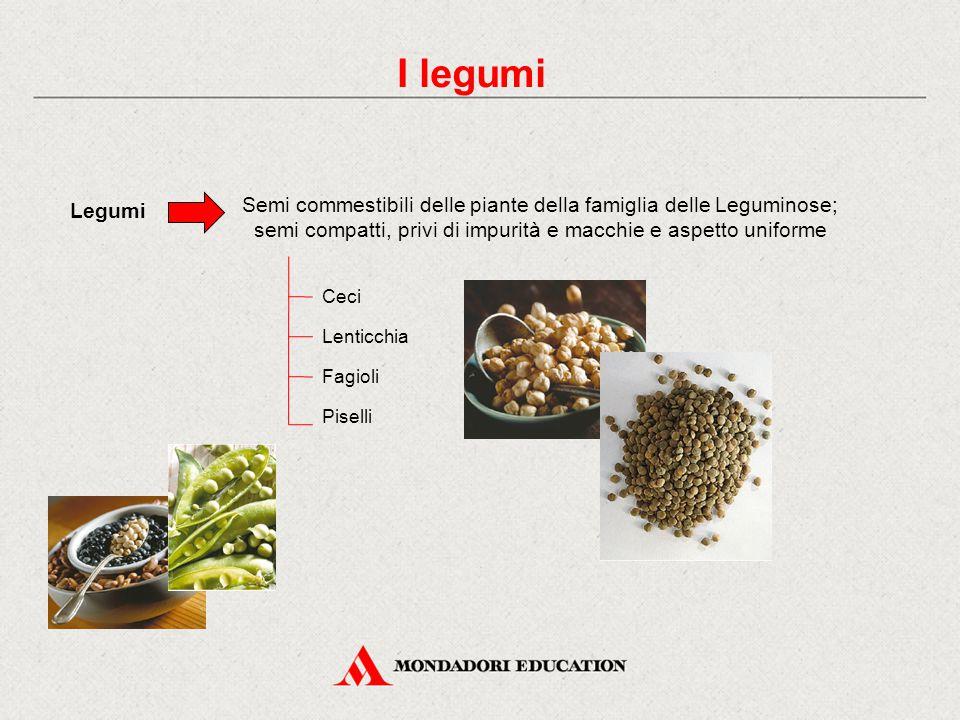 I legumi Legumi Semi commestibili delle piante della famiglia delle Leguminose; semi compatti, privi di impurità e macchie e aspetto uniforme Ceci Lenticchia Fagioli Piselli