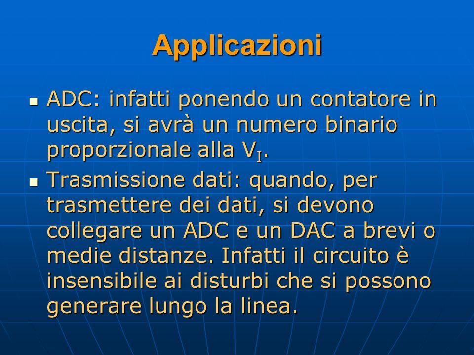 Applicazioni ADC: infatti ponendo un contatore in uscita, si avrà un numero binario proporzionale alla V I. ADC: infatti ponendo un contatore in uscit