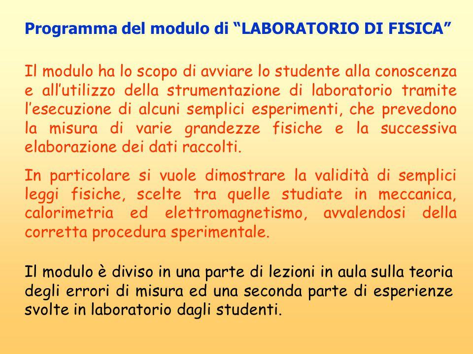 Programma del corso di LABORATORIO DI FISICA  Misurazione di una grandezza fisica.