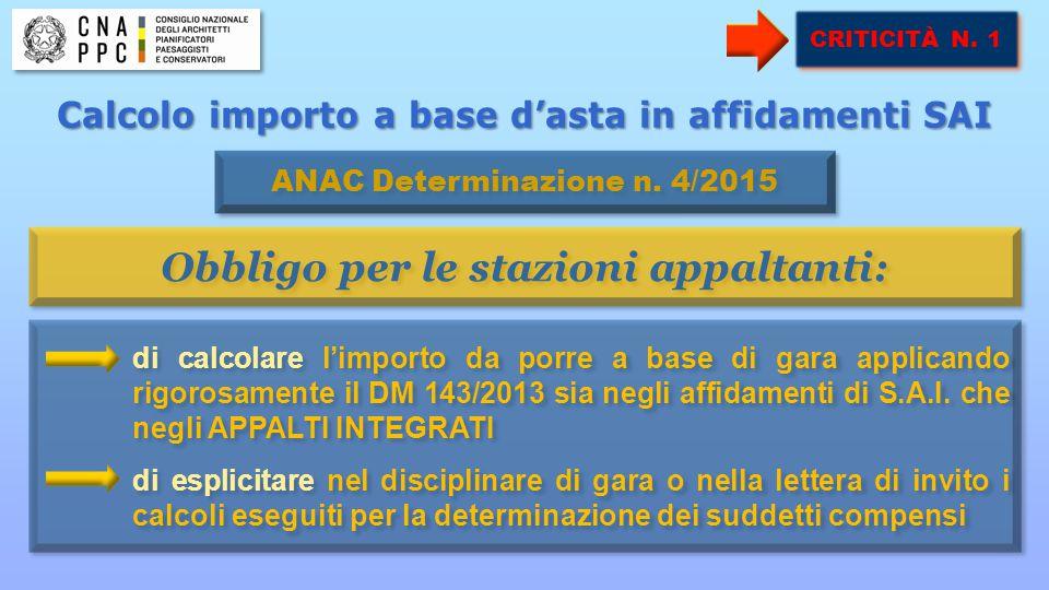 OBIETTIVO RAGGIUNTO CRITICITÀ N. 1 di calcolare l'importo da porre a base di gara applicando rigorosamente il DM 143/2013 sia negli affidamenti di S.A