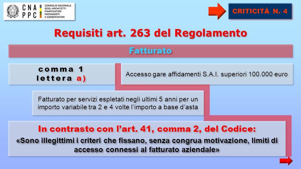 Fatturato per servizi espletati negli ultimi 5 anni per un importo variabile tra 2 e 4 volte l'importo a base d'asta Accesso gare affidamenti S.A.I.