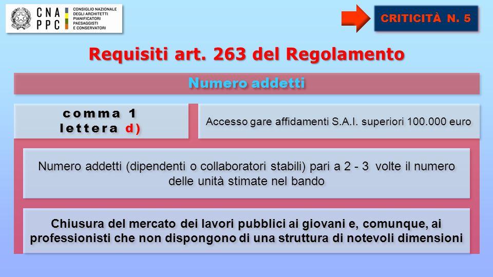 Numero addetti (dipendenti o collaboratori stabili) pari a 2 - 3 volte il numero delle unità stimate nel bando Accesso gare affidamenti S.A.I.