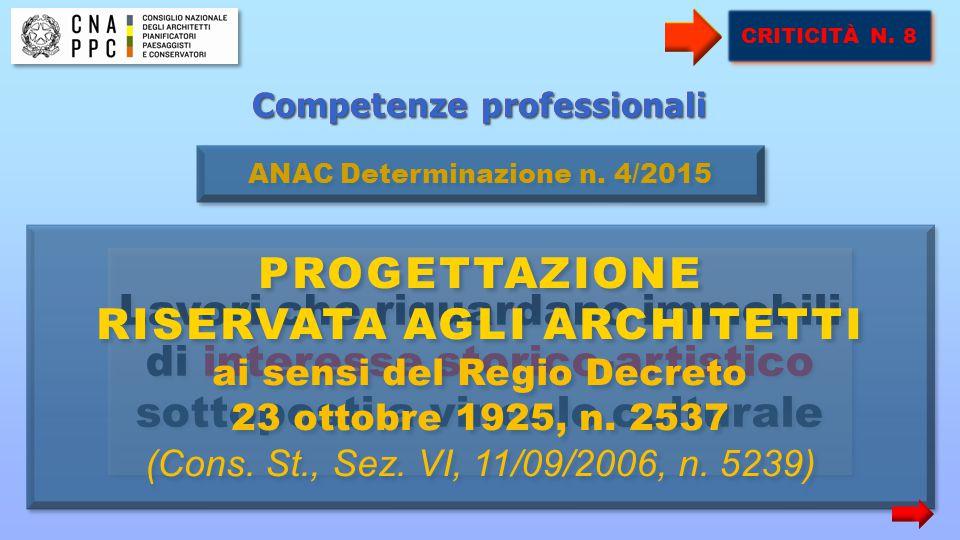 Competenze professionali Lavori che riguardano immobili di interesse storico-artistico sottoposti a vincolo culturale ANAC Determinazione n. 4/2015 PR