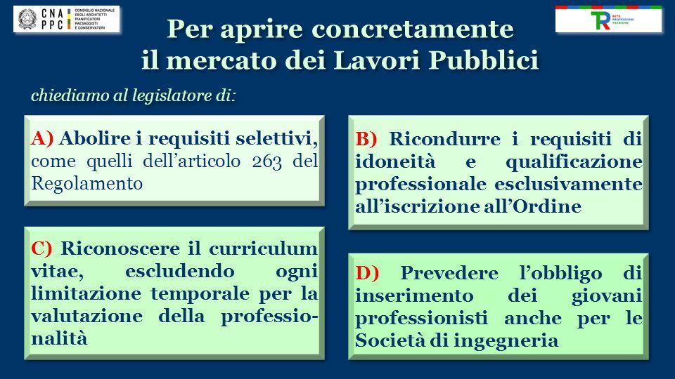 Per aprire concretamente il mercato dei Lavori Pubblici Per aprire concretamente il mercato dei Lavori Pubblici A) Abolire i requisiti selettivi, come