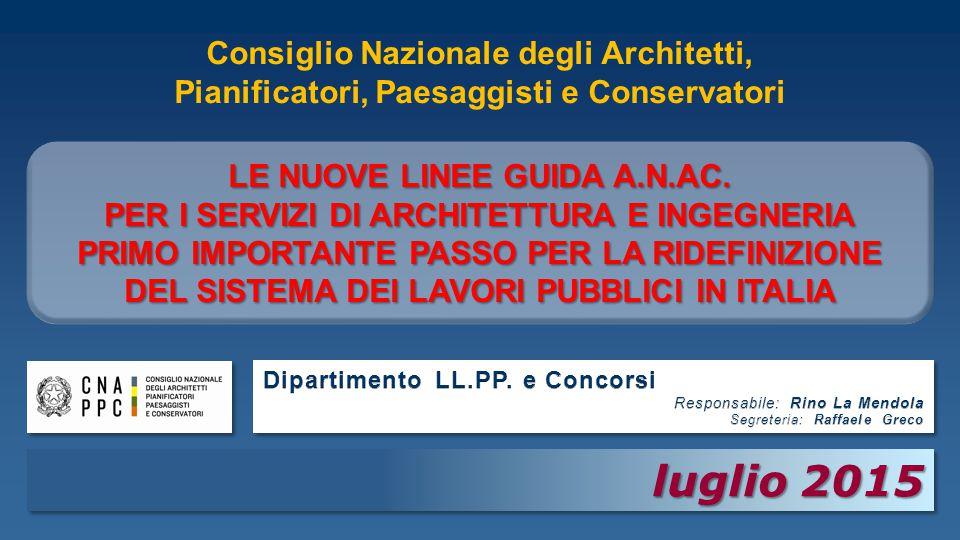 luglio 2015 luglio 2015 Consiglio Nazionale degli Architetti, Pianificatori, Paesaggisti e Conservatori LE NUOVE LINEE GUIDA A.N.AC.