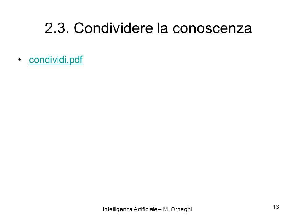 Intelligenza Artificiale – M. Ornaghi 13 2.3. Condividere la conoscenza condividi.pdf