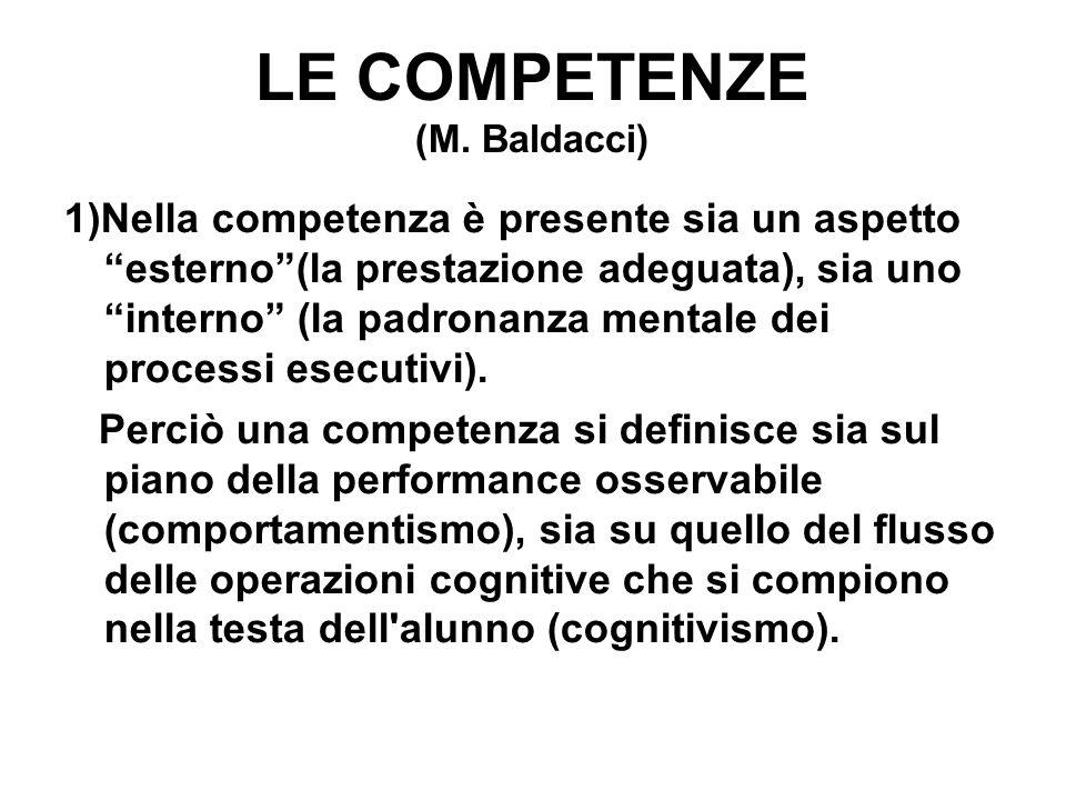 """LE COMPETENZE (M. Baldacci) 1)Nella competenza è presente sia un aspetto """"esterno""""(la prestazione adeguata), sia uno """"interno"""" (la padronanza mentale"""