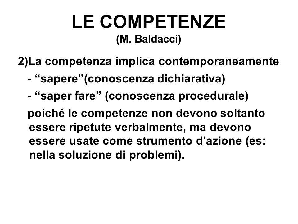 """LE COMPETENZE (M. Baldacci) 2)La competenza implica contemporaneamente - """"sapere""""(conoscenza dichiarativa) - """"saper fare"""" (conoscenza procedurale) poi"""
