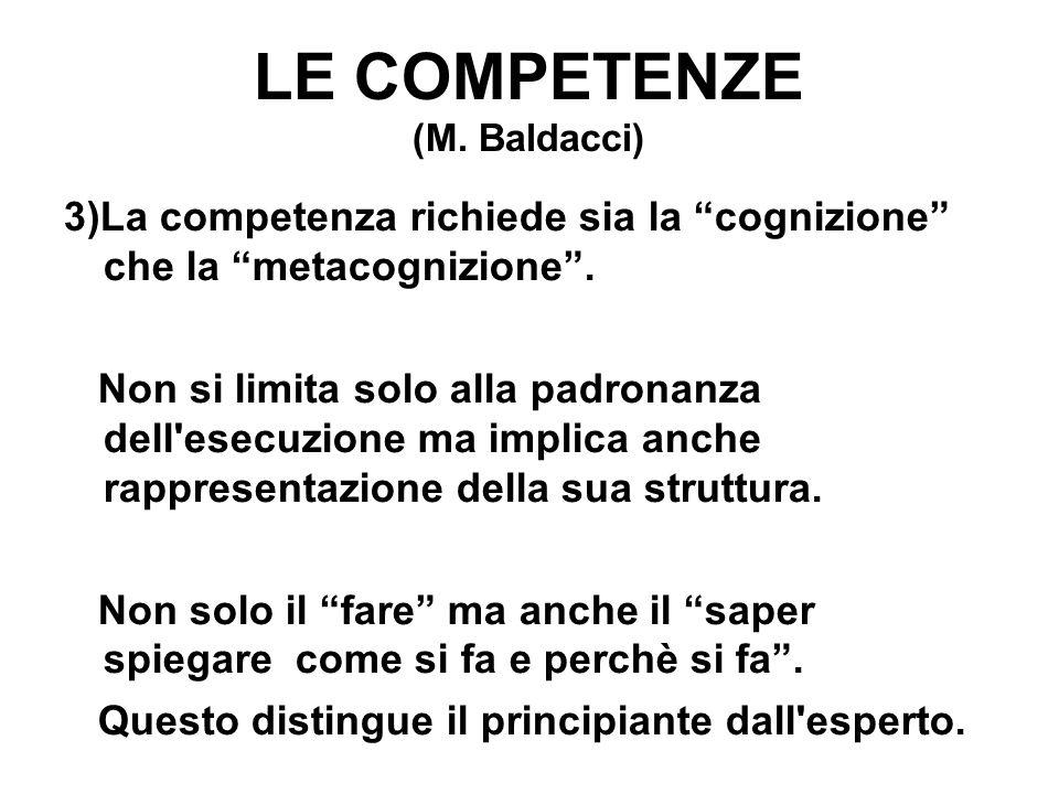 """LE COMPETENZE (M. Baldacci) 3)La competenza richiede sia la """"cognizione"""" che la """"metacognizione"""". Non si limita solo alla padronanza dell'esecuzione m"""
