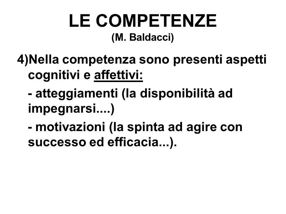 LE COMPETENZE (M. Baldacci) 4)Nella competenza sono presenti aspetti cognitivi e affettivi: - atteggiamenti (la disponibilità ad impegnarsi....) - mot