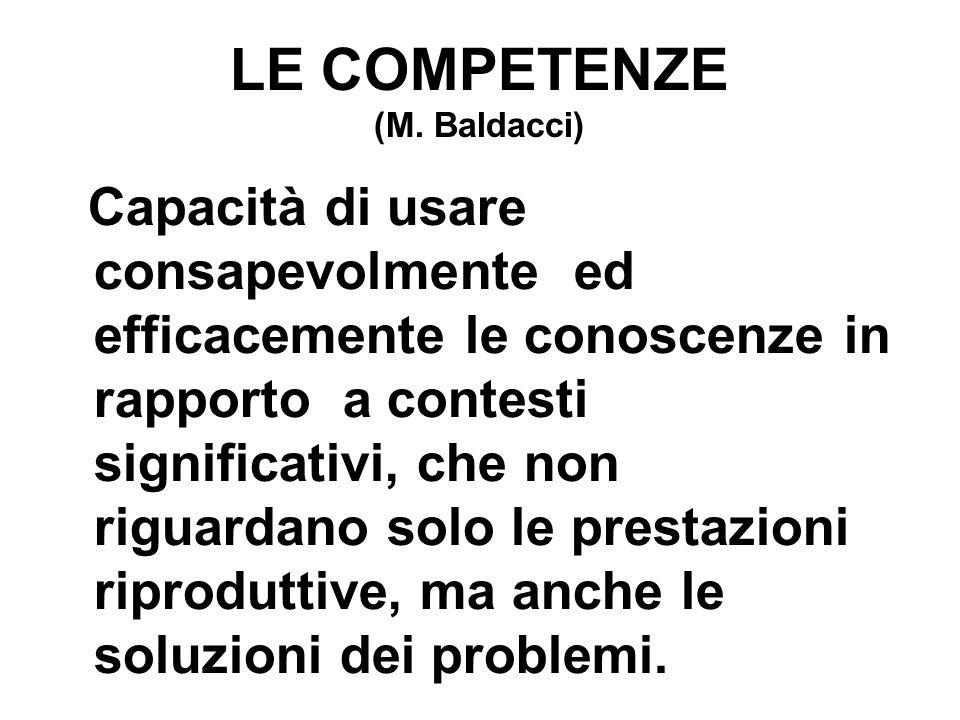 LE COMPETENZE (M. Baldacci) Capacità di usare consapevolmente ed efficacemente le conoscenze in rapporto a contesti significativi, che non riguardano