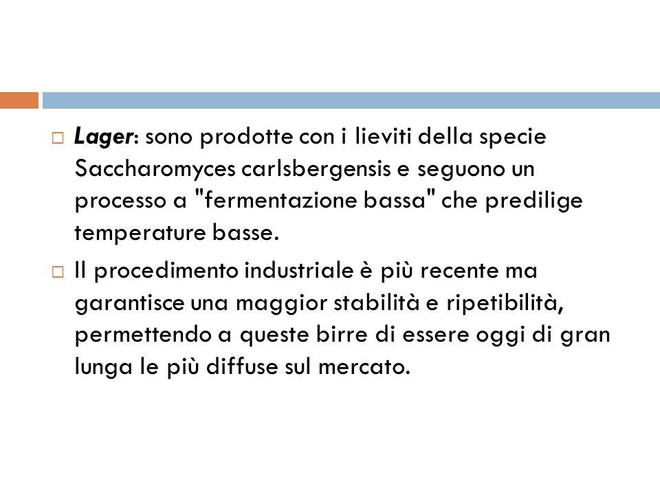  Lager: sono prodotte con i lieviti della specie Saccharomyces carlsbergensis e seguono un processo a