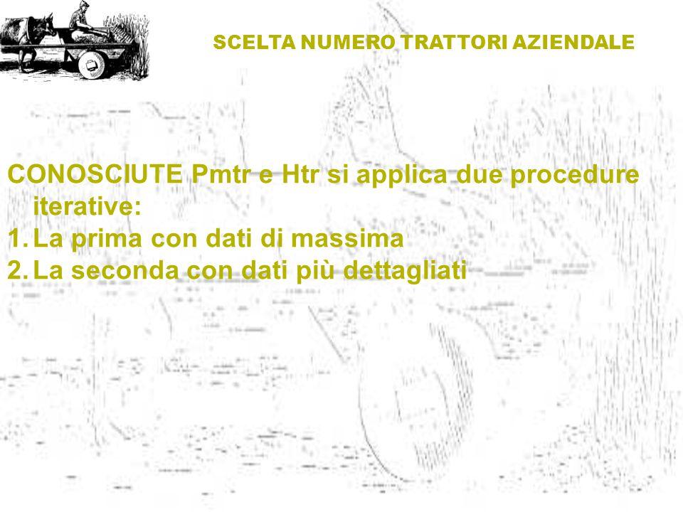 SCELTA NUMERO TRATTORI AZIENDALE CONOSCIUTE Pmtr e Htr si applica due procedure iterative: 1.La prima con dati di massima 2.La seconda con dati più de