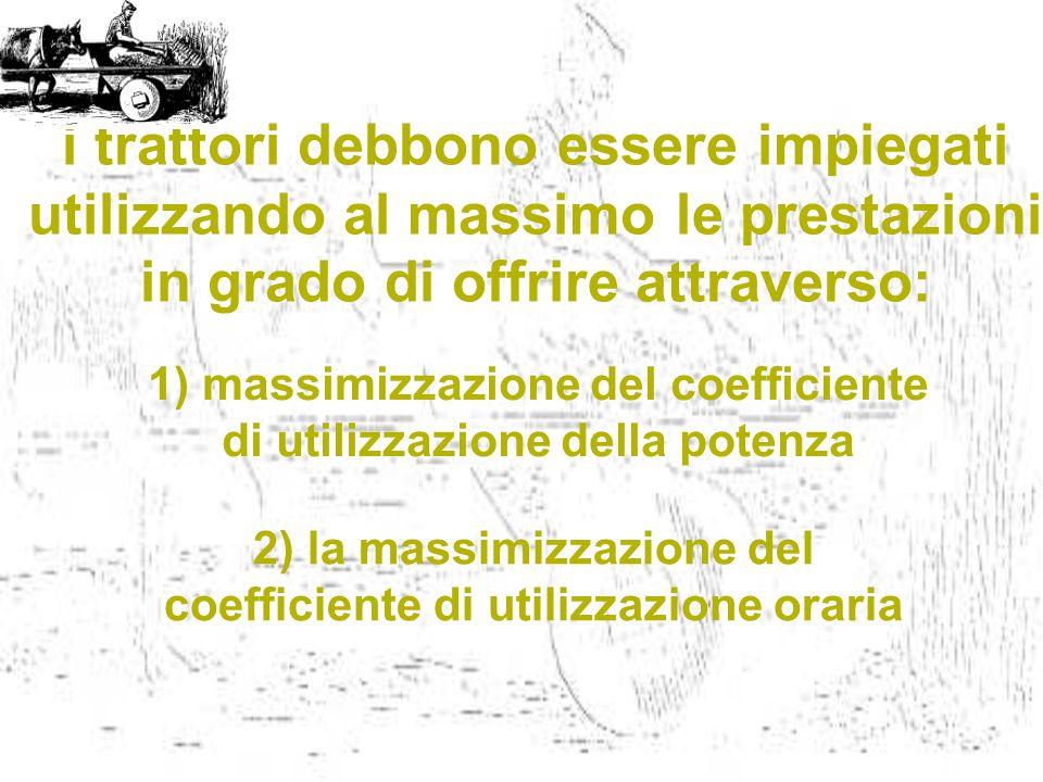 i trattori debbono essere impiegati utilizzando al massimo le prestazioni in grado di offrire attraverso: 2) la massimizzazione del coefficiente di ut
