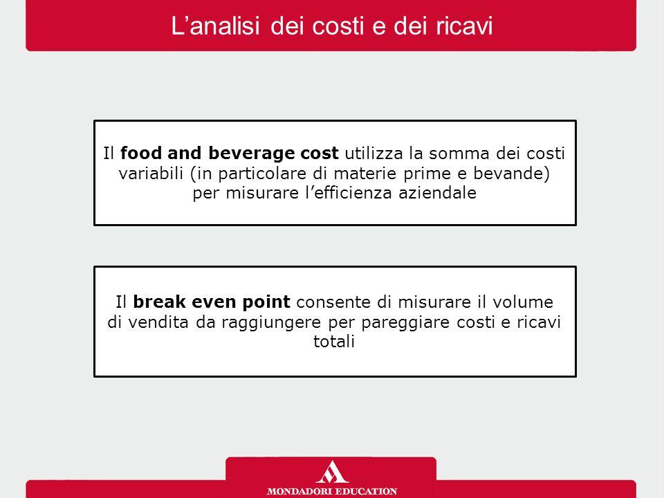 L'analisi dei costi e dei ricavi Il food and beverage cost utilizza la somma dei costi variabili (in particolare di materie prime e bevande) per misur