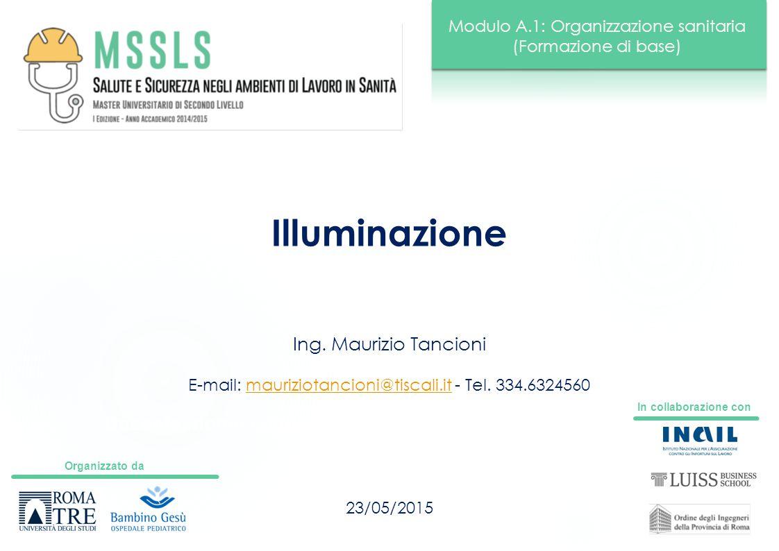 Organizzato da In collaborazione con Modulo A.1: Organizzazione sanitaria (Formazione di base) Docente: nome cognome Illuminazione 23/05/2015 Ing. Mau