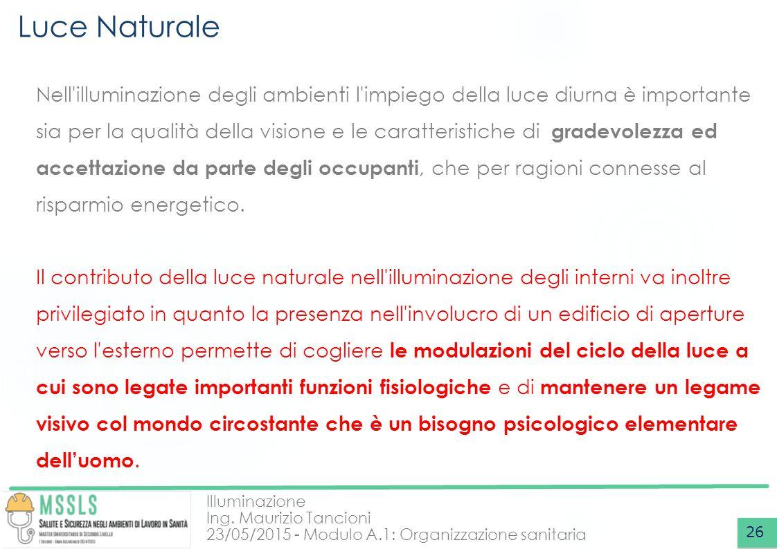 Illuminazione Ing. Maurizio Tancioni 23/05/2015 - Modulo A.1: Organizzazione sanitaria Luce Naturale 26 Nell'illuminazione degli ambienti l'impiego de
