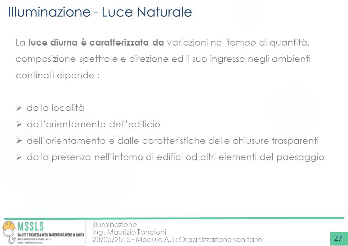 Illuminazione Ing. Maurizio Tancioni 23/05/2015 - Modulo A.1: Organizzazione sanitaria Illuminazione - Luce Naturale 27 La luce diurna è caratterizzat