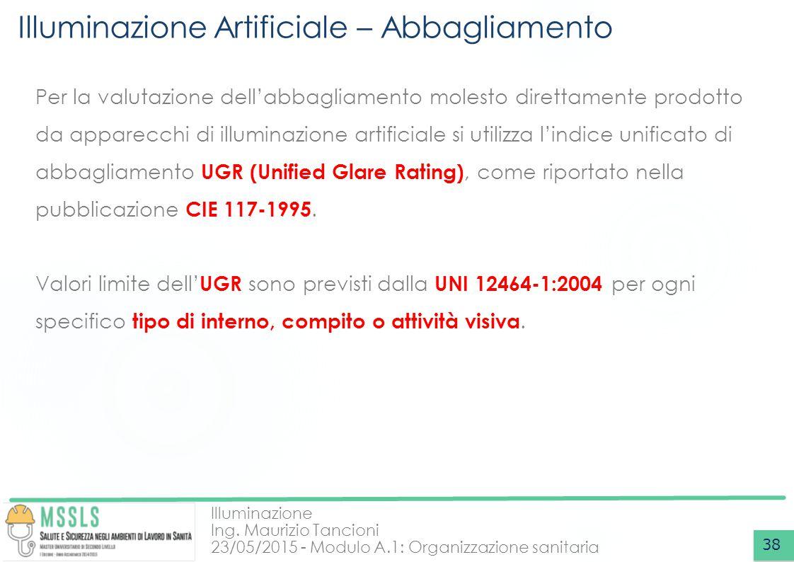 Illuminazione Ing. Maurizio Tancioni 23/05/2015 - Modulo A.1: Organizzazione sanitaria Illuminazione Artificiale – Abbagliamento 38 Per la valutazione