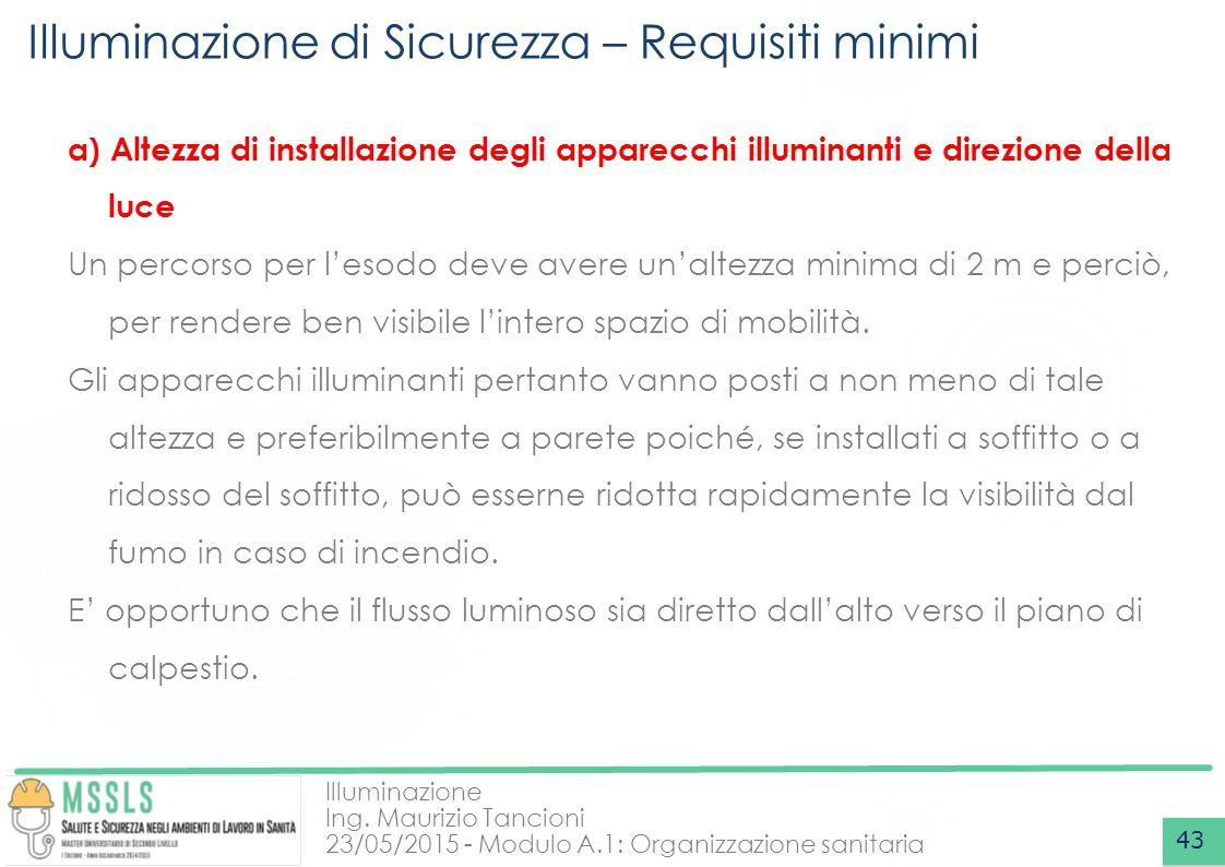Illuminazione Ing. Maurizio Tancioni 23/05/2015 - Modulo A.1: Organizzazione sanitaria Illuminazione di Sicurezza – Requisiti minimi 43 a) Altezza di