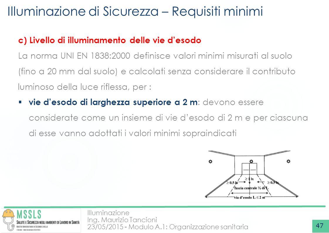 Illuminazione Ing. Maurizio Tancioni 23/05/2015 - Modulo A.1: Organizzazione sanitaria Illuminazione di Sicurezza – Requisiti minimi 47 c) Livello di