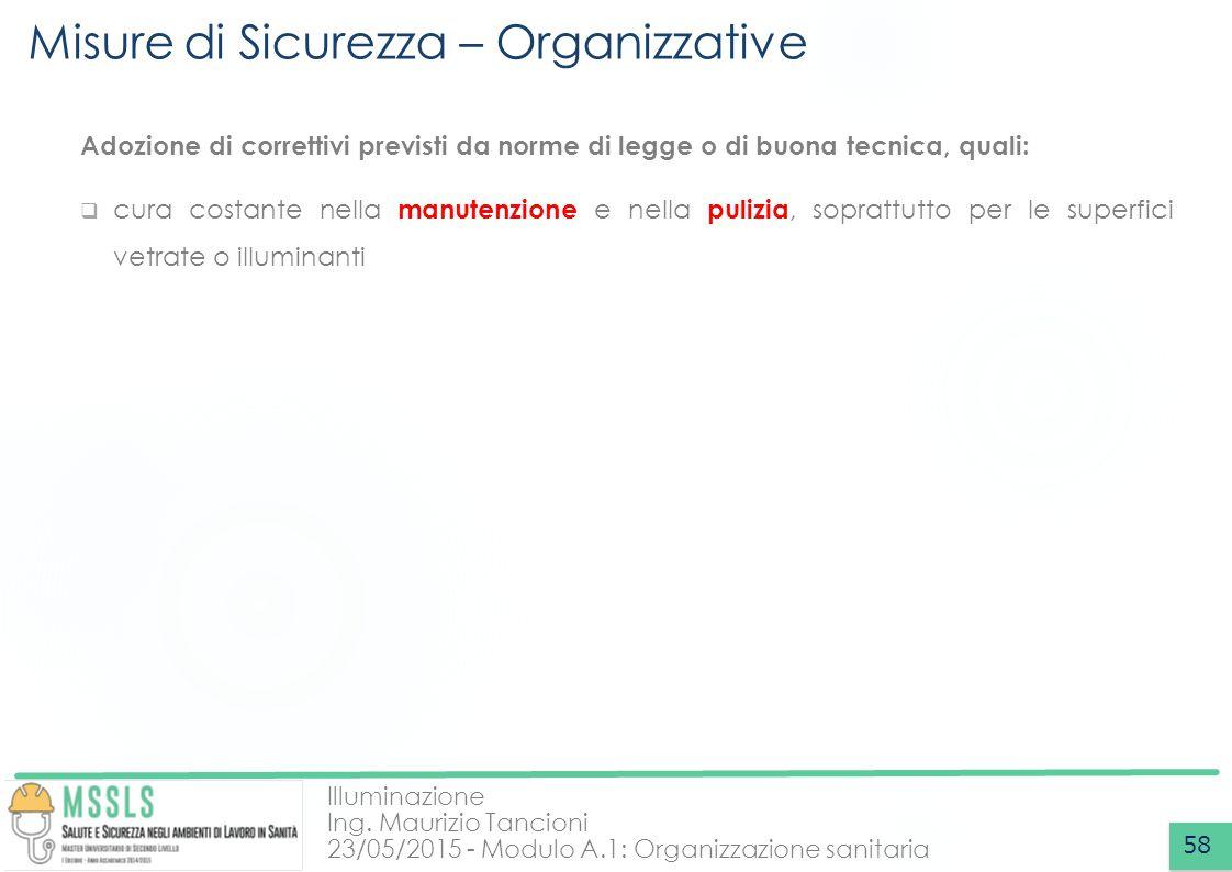 Illuminazione Ing. Maurizio Tancioni 23/05/2015 - Modulo A.1: Organizzazione sanitaria Misure di Sicurezza – Organizzative 58 Adozione di correttivi p