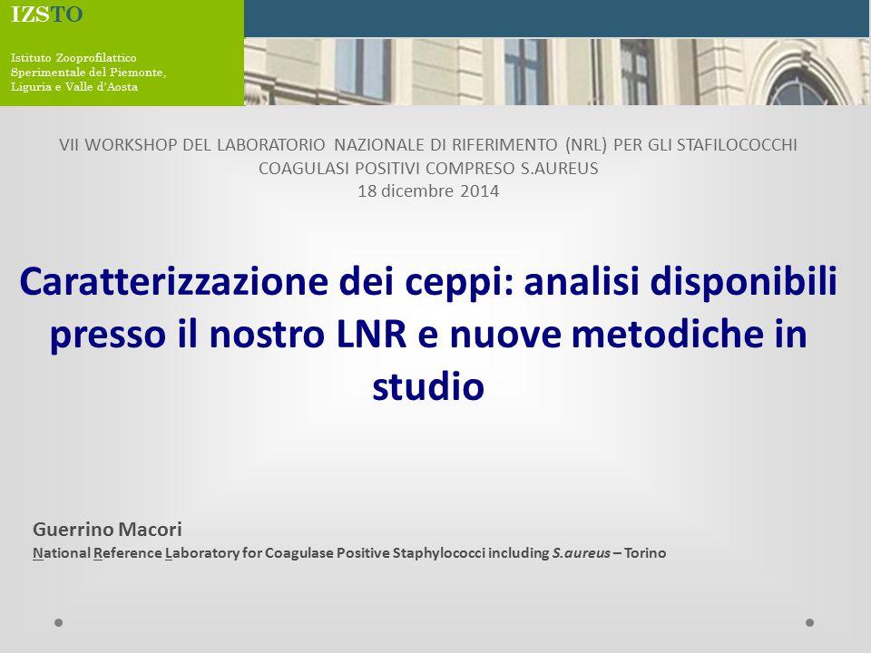 Caratterizzazione ceppi mediante geni SEs VII Workshop NRL – CPS including S.aureus - Torino, 18 dicembre 2013 Campionamento S.