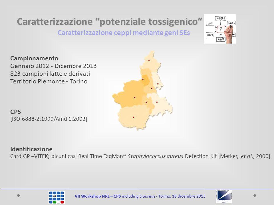 Caratterizzazione ceppi mediante geni SEs VII Workshop NRL – CPS including S.aureus - Torino, 18 dicembre 2013 Campionamento Gennaio 2012 - Dicembre 2