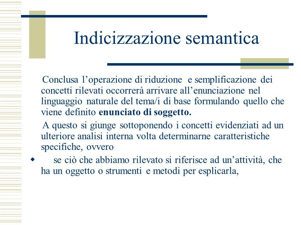 Indicizzazione semantica Conclusa l'operazione di riduzione e semplificazione dei concetti rilevati occorrerà arrivare all'enunciazione nel linguaggio naturale del tema/i di base formulando quello che viene definito enunciato di soggetto.