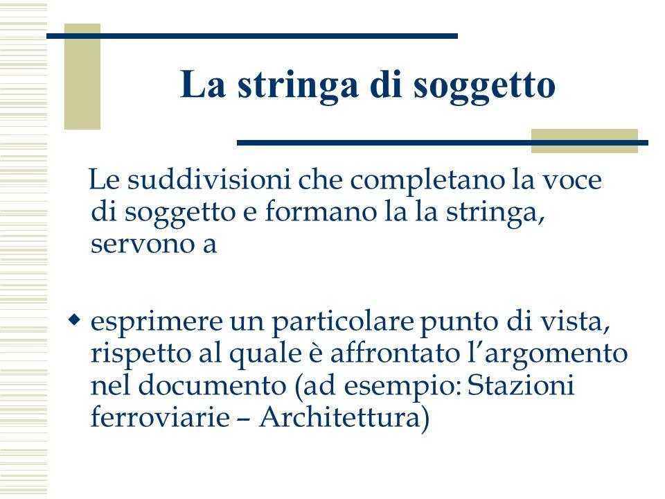 La stringa di soggetto Le suddivisioni che completano la voce di soggetto e formano la la stringa, servono a  esprimere un particolare punto di vista, rispetto al quale è affrontato l'argomento nel documento (ad esempio: Stazioni ferroviarie – Architettura)