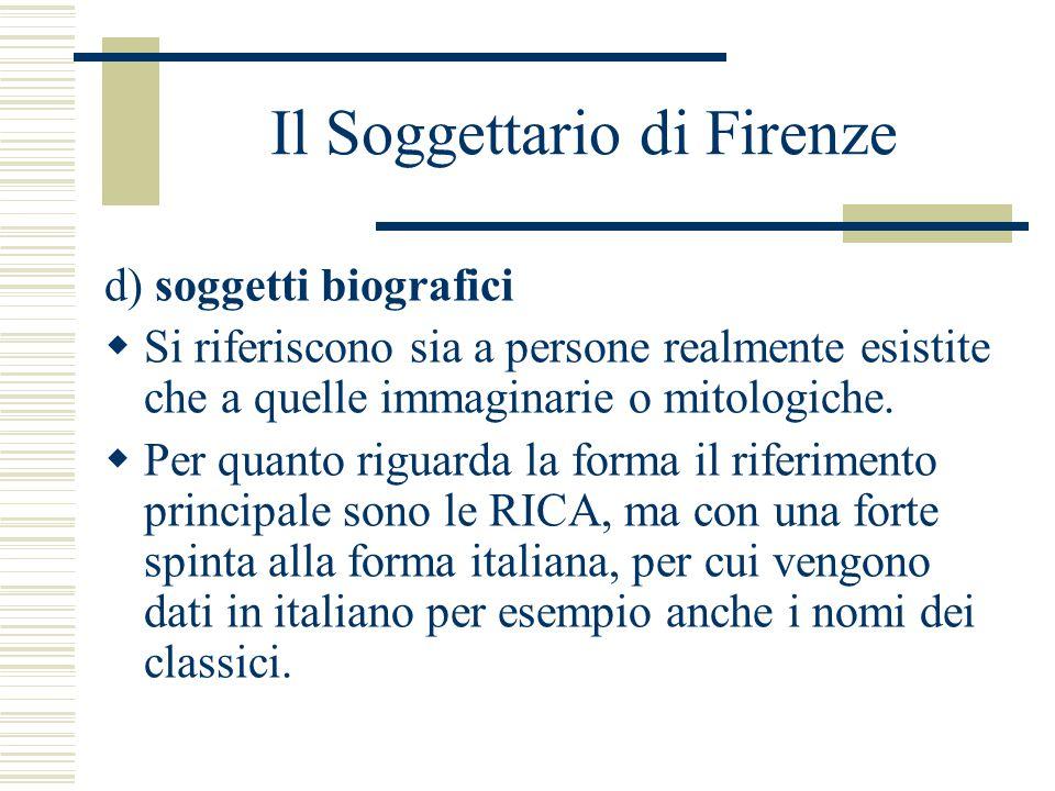 Il Soggettario di Firenze d) soggetti biografici  Si riferiscono sia a persone realmente esistite che a quelle immaginarie o mitologiche.