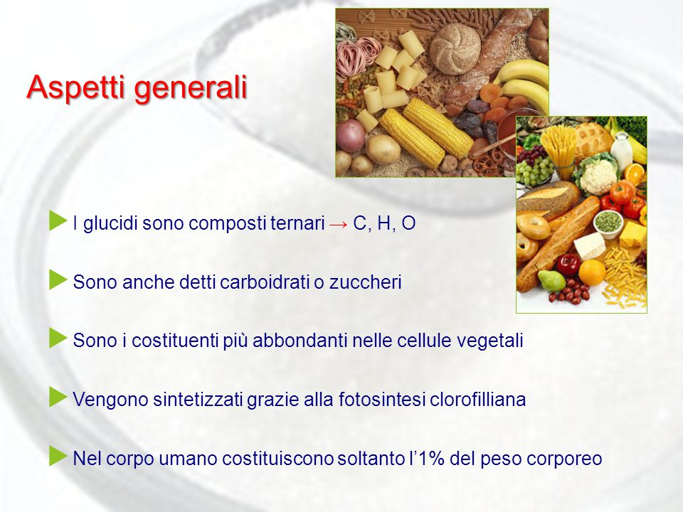 Aspetti generali  I glucidi sono composti ternari → C, H, O  Sono anche detti carboidrati o zuccheri  Sono i costituenti più abbondanti nelle cellu