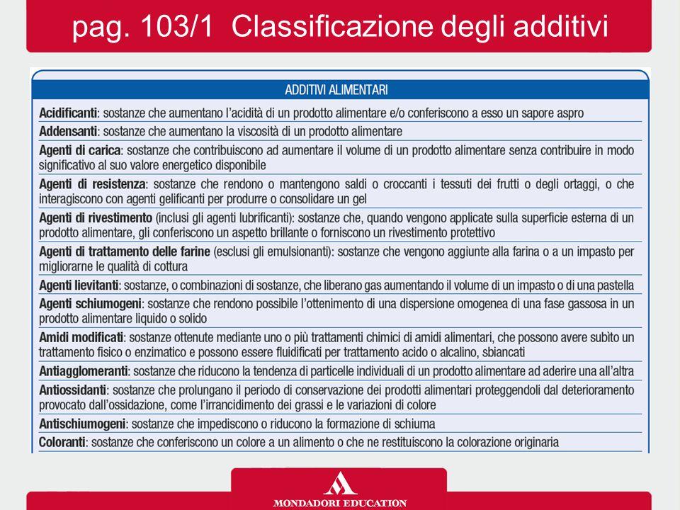 pag. 103/1 Classificazione degli additivi