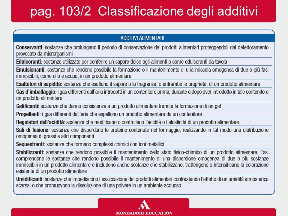 pag. 103/2 Classificazione degli additivi