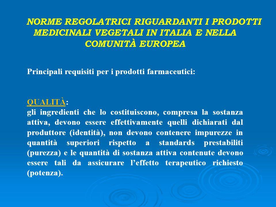 Principali requisiti per i prodotti farmaceutici: QUALITÀ: gli ingredienti che lo costituiscono, compresa la sostanza attiva, devono essere effettivam
