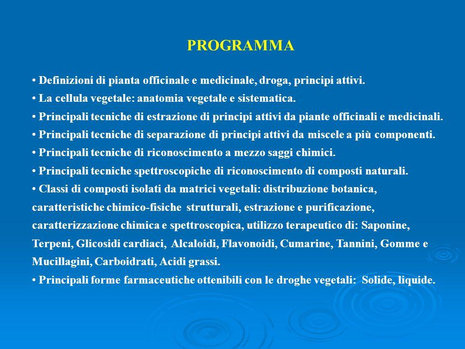 PROGRAMMA Definizioni di pianta officinale e medicinale, droga, principi attivi. La cellula vegetale: anatomia vegetale e sistematica. Principali tecn
