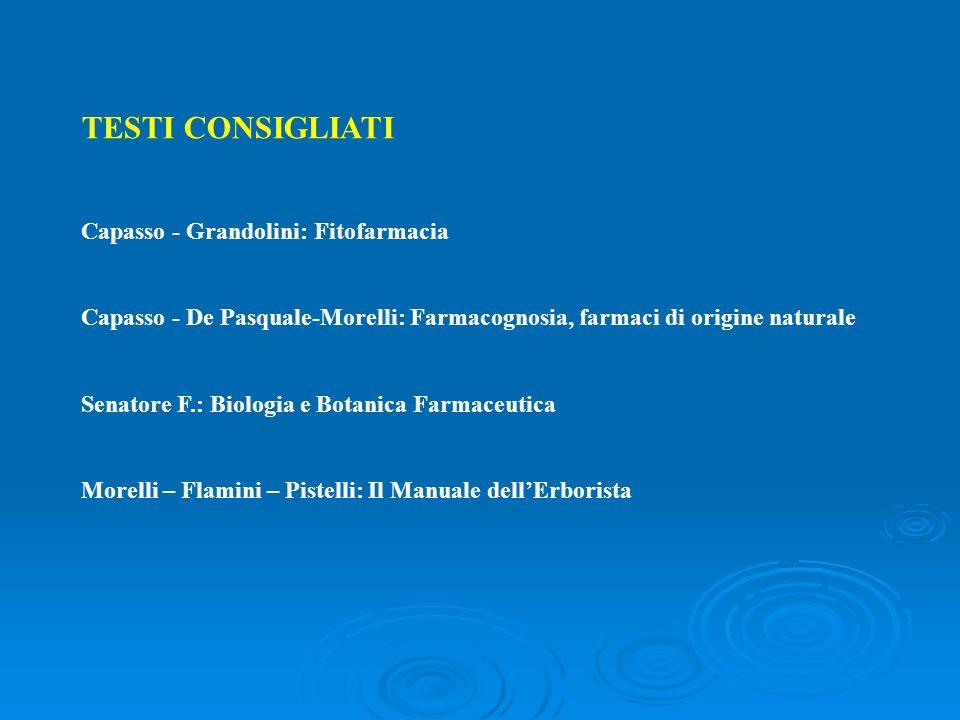 TESTI CONSIGLIATI Capasso - Grandolini: Fitofarmacia Capasso - De Pasquale-Morelli: Farmacognosia, farmaci di origine naturale Senatore F.: Biologia e