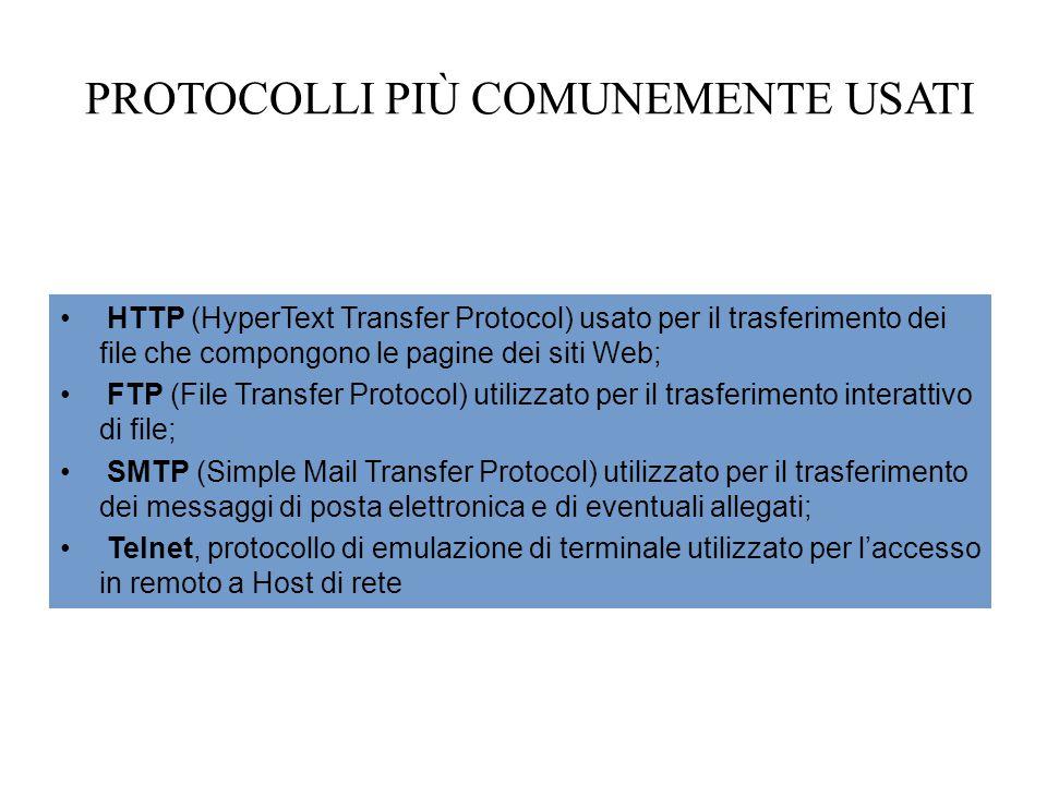 PROTOCOLLI PIÙ COMUNEMENTE USATI HTTP (HyperText Transfer Protocol) usato per il trasferimento dei file che compongono le pagine dei siti Web; FTP (File Transfer Protocol) utilizzato per il trasferimento interattivo di file; SMTP (Simple Mail Transfer Protocol) utilizzato per il trasferimento dei messaggi di posta elettronica e di eventuali allegati; Telnet, protocollo di emulazione di terminale utilizzato per l'accesso in remoto a Host di rete
