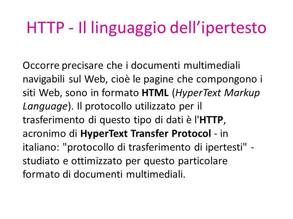 HTTP - Il linguaggio dell'ipertesto Occorre precisare che i documenti multimediali navigabili sul Web, cioè le pagine che compongono i siti Web, sono in formato HTML (HyperText Markup Language).